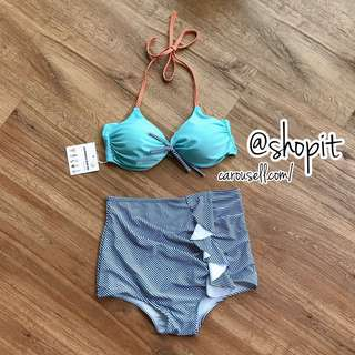 Turquoise x Stripe Bikini Set