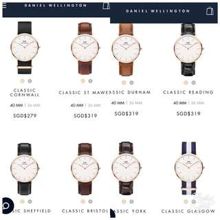 100% AUTHENTIC DW DANIEL WELLINGTON WATCHES