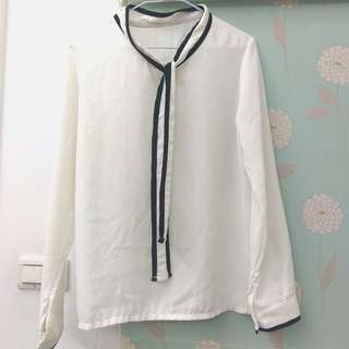 白底黑邊雪紡襯衫