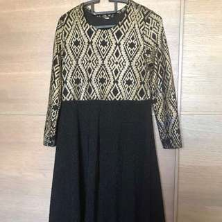 Black & gold jubah dress