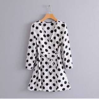 🔥French style wave dot long sleeve Dress