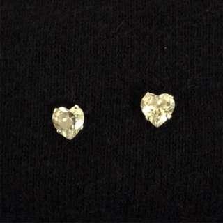 愛心鋯石 純銀 耳針耳環