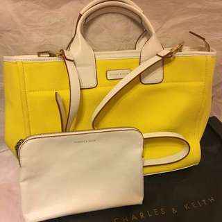 Charles & Keith Tote Bag + White Pouch