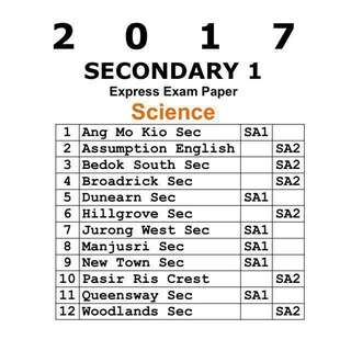 2017 Sec 1 Science Exam Paper / Secondary 1 Science Express exam papers - Physics Chemistry Biology  / test papers (soft copy)