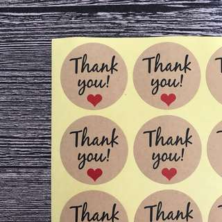 (Free postage) 60 Kraft stickers - 60 Thank You Stickers