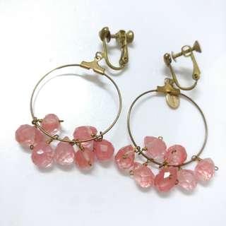 巴黎散步尋寶 跳舞的粉水晶 夾式耳環 打翻珠寶盒e34