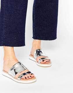 Aldo Silver Double Strips Sandles 銀色涼鞋