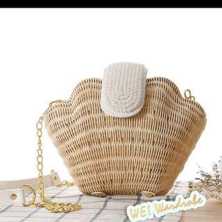日本Vivi雜誌款 貝殼編織包  陽光沙灘