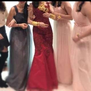紅色蕾絲敬酒裙