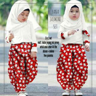 Mikey jasmine set 3in1 fashion muslim anak perempuan