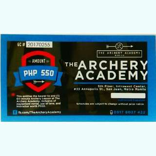 Archery Lesson Gift Certificate (only 3 left)