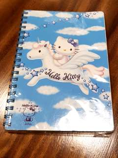 Authentic & Rare 1999 HELLO KITTY on WINGED UNICORN 25th Anniversary Collection - notebook with 60 sheets - made in Japan