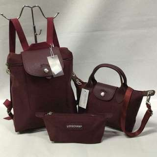 Longchamp 3in1 Set Backpack 12x9inch Sling Bag 11x7.5inch Pouch 4x9inch GOOD QUALITY