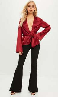 MISSGUIDED Chiffon Wrap Blouse