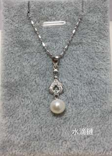 S925純銀頸鏈+S925鋯石+天然淡水珍珠吊咀