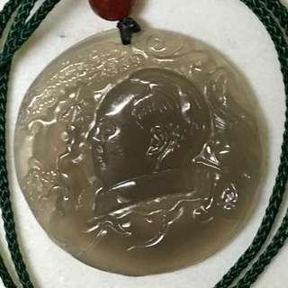 毛主席肖像瑪瑙吊咀連頸繩