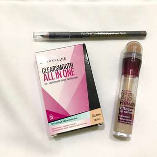(Take All) Maybelline Eyebrow Pencil, Age Rewind Concealer, Clearsmooth All in One UV + Lightening Oil-Control Two Way Cake (Refill)