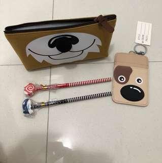 Pencil case, card holder, pencils