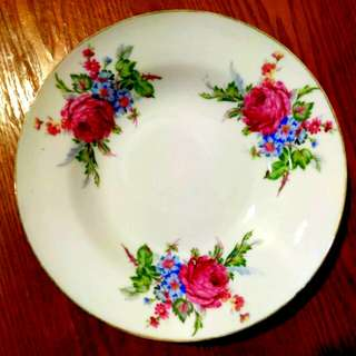 "9"" Pink Flower Plate"