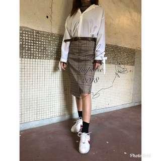 韓國蕾絲襯衫+裇衫+及膝格仔裙