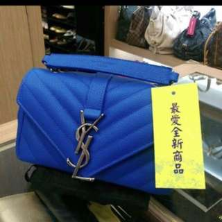 YSL 閃電藍 仿舊鍊 mini 斜肩包 (知名二手店購入)