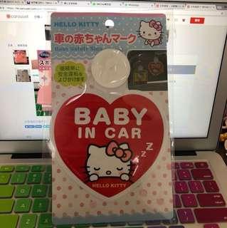 日本直送🇯🇵Hello Kitty baby in car 牌 裝飾