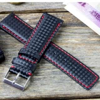 Carbon fibre square tip 20mm leather watch strap
