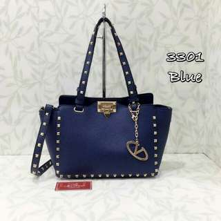 Valentino Rockstuds Tote Bag Navy Blue Color