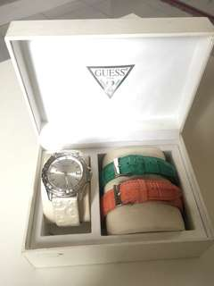Guess Watch 3 in 1 set with white, green dan pink straps