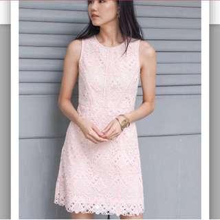 Leonora Crochet Panel Dress Pale Peach