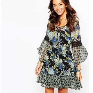 Band Of Gypsies Tie Neck Dress with Bell Sleeves