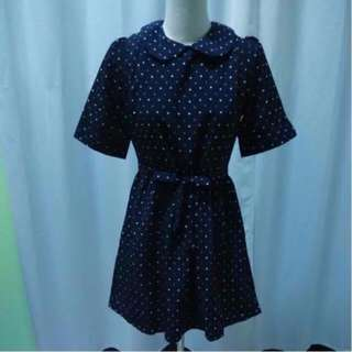Dark Blue polka dots Dress top