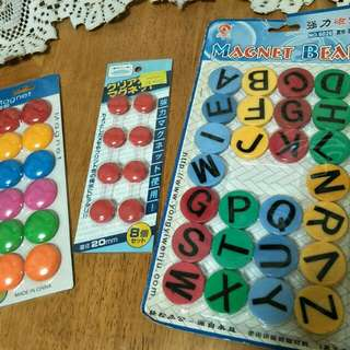 Assorted Set Of Magnets Plastic Tabs/Buttons.