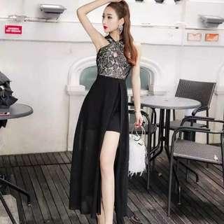 BN Black Lace High Low Chiffon Dress