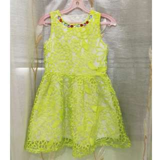 Green Yellow Dinner Dress
