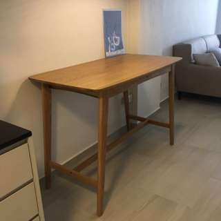 Nordic white oak solid wood bar table
