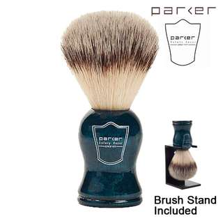 🚚 (Free mail) Parker Blue Wood Handle Synthetic Bristle Shaving Brush with Brush Stand - safety razor shaving shave shaver