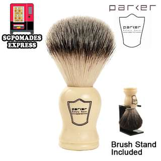 (Free mail) Parker Ivory Handle Synthetic Bristle Shaving Brush with Brush Stand - Shaver Shaving Shave