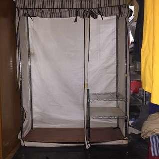 黑銀混配色度鉻鐵衣櫃/衣櫥/單層可副重80kg