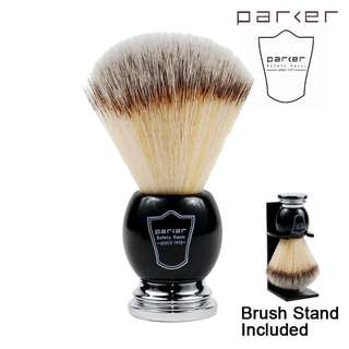 (Free mail) Parker Black & Chrome Handle Synthetic Bristle Shaving Brush with Brush Stand - Shaving Shave Shaver