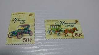 Singapore vintage car & horse drawn carriage stamps
