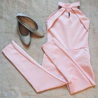 Pastel Pink Jumpsuit with free flat shoes.