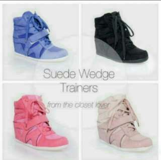 BNIB TCL Suede Wedge Trainers In Blue (37)