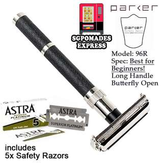 (Free mail) Parker 96R - Long Handle Butterfly Open Double Edge Safety Razor - Shaving Shaver Shaver