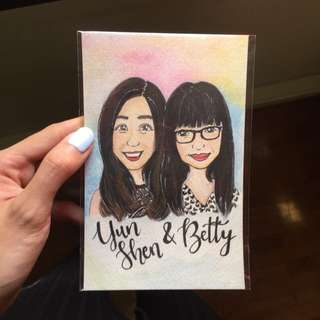 Custom Watercolor Portrait Card | Gift | Hand Drawn