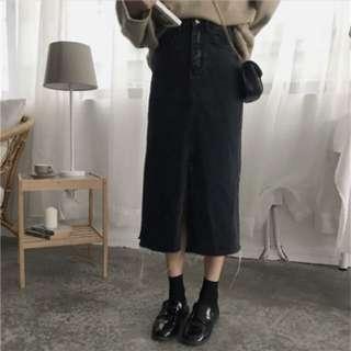 開叉牛仔半身裙 包臀裙高腰百搭 顯瘦中長裙A字裙