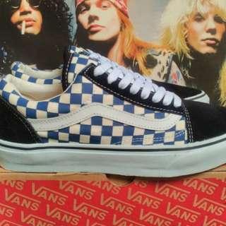 Vans oldskool checkerboard blue white
