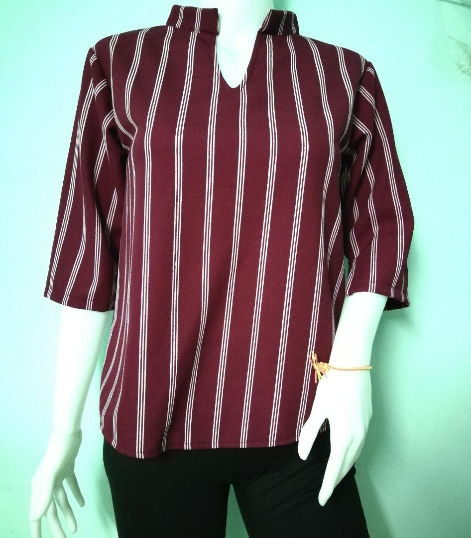 3/4 sleeve Stripes Top
