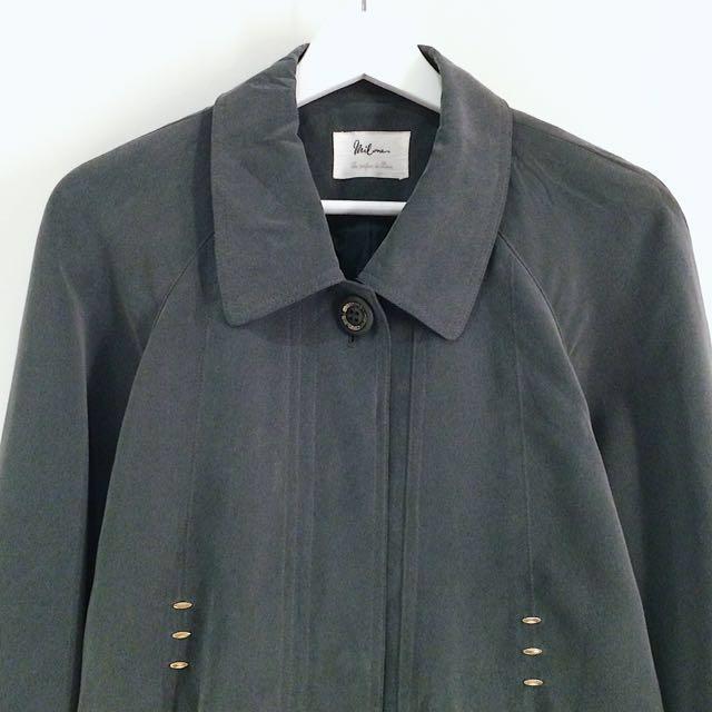 Milone ✼暗綠單排釦風衣✼ 小方領 插肩袖 隱藏門襟 復古扣 福爾摩斯中長款外套 日本古着Vintage