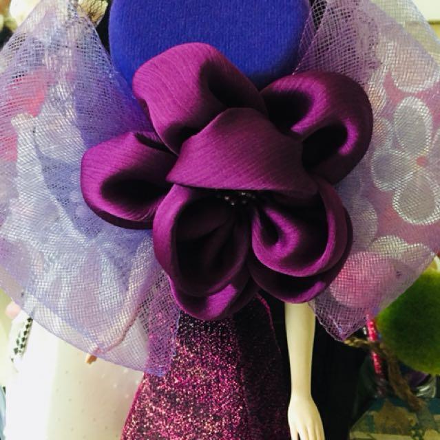 紫色 夾式小禮帽 新秘/扮裝/禮服/活動